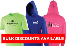 Personalised t-shirts and hoodies. Bulk discounts are available